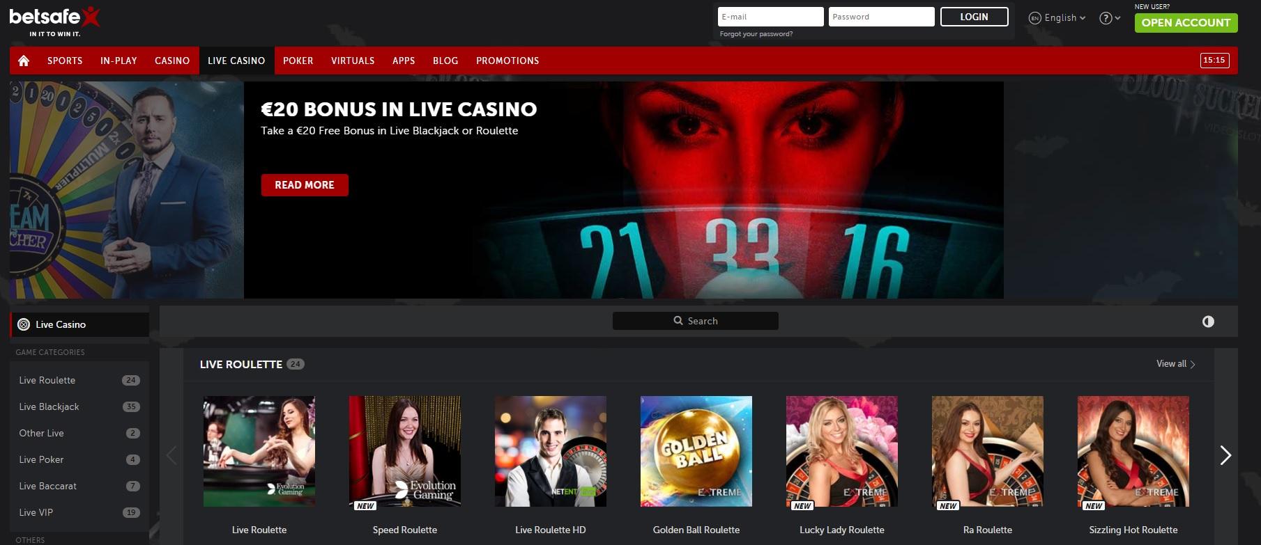 spela live casino