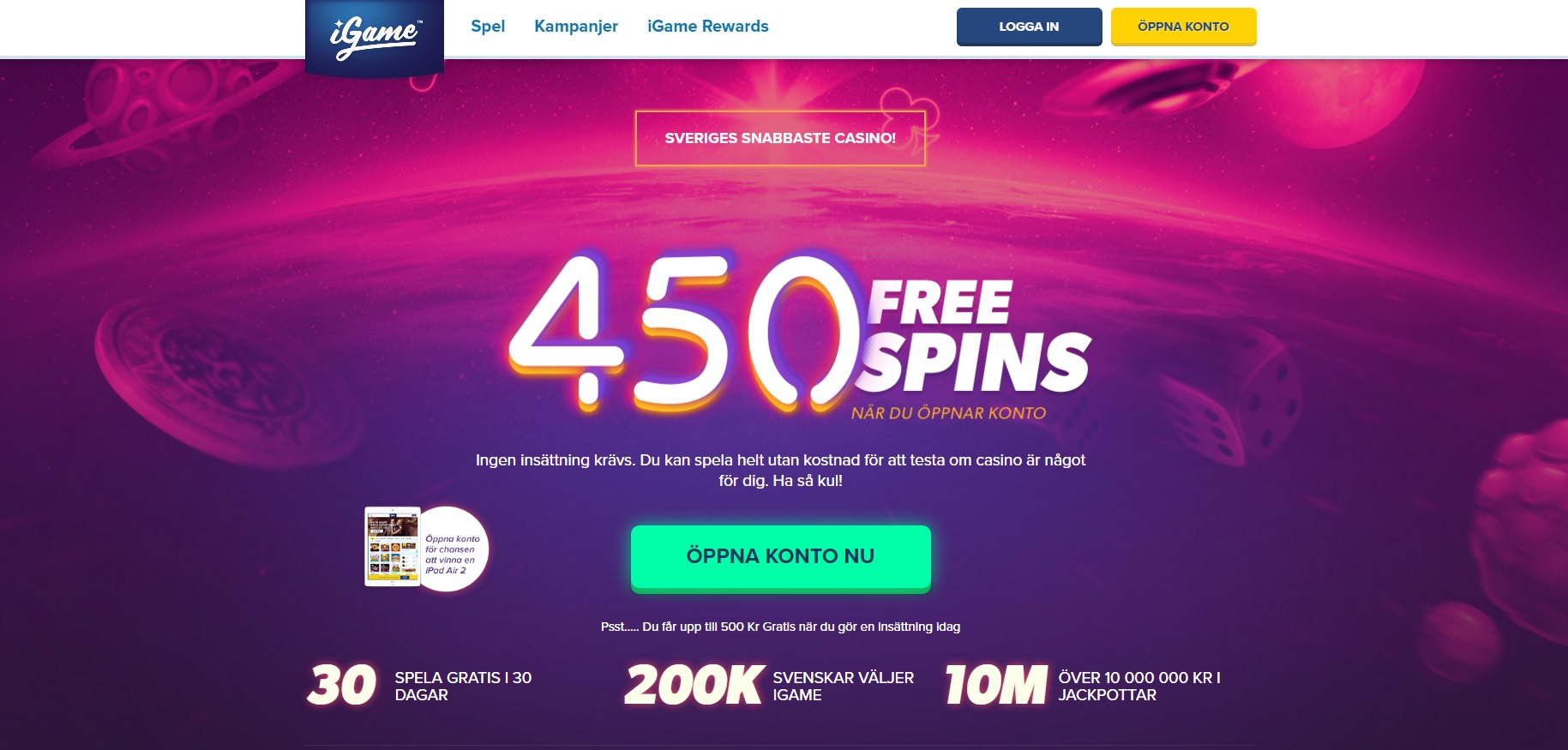 igame casino med free spins